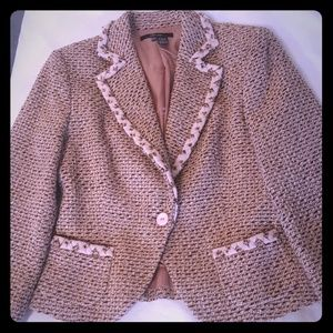 Zara Women's Wool Blazer Size 8 Soft Pink Brown